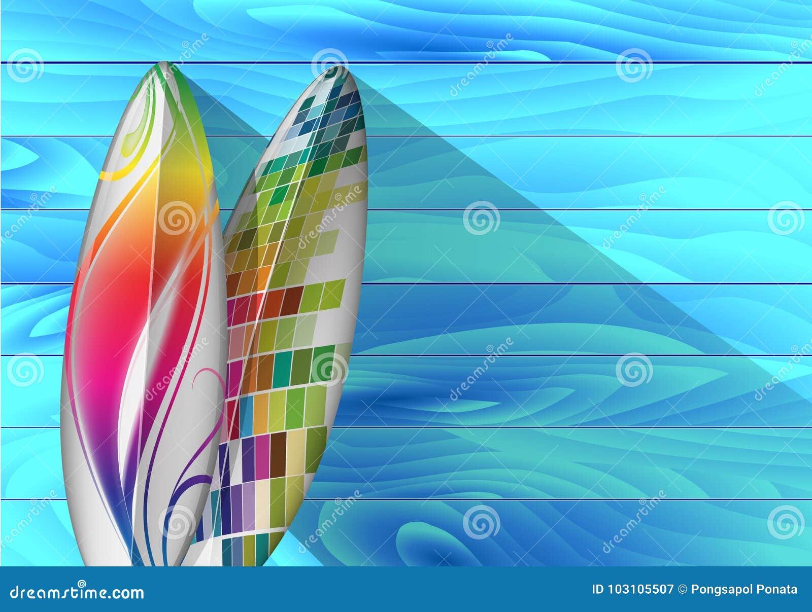 Surfingbräda mot den blåa träväggen