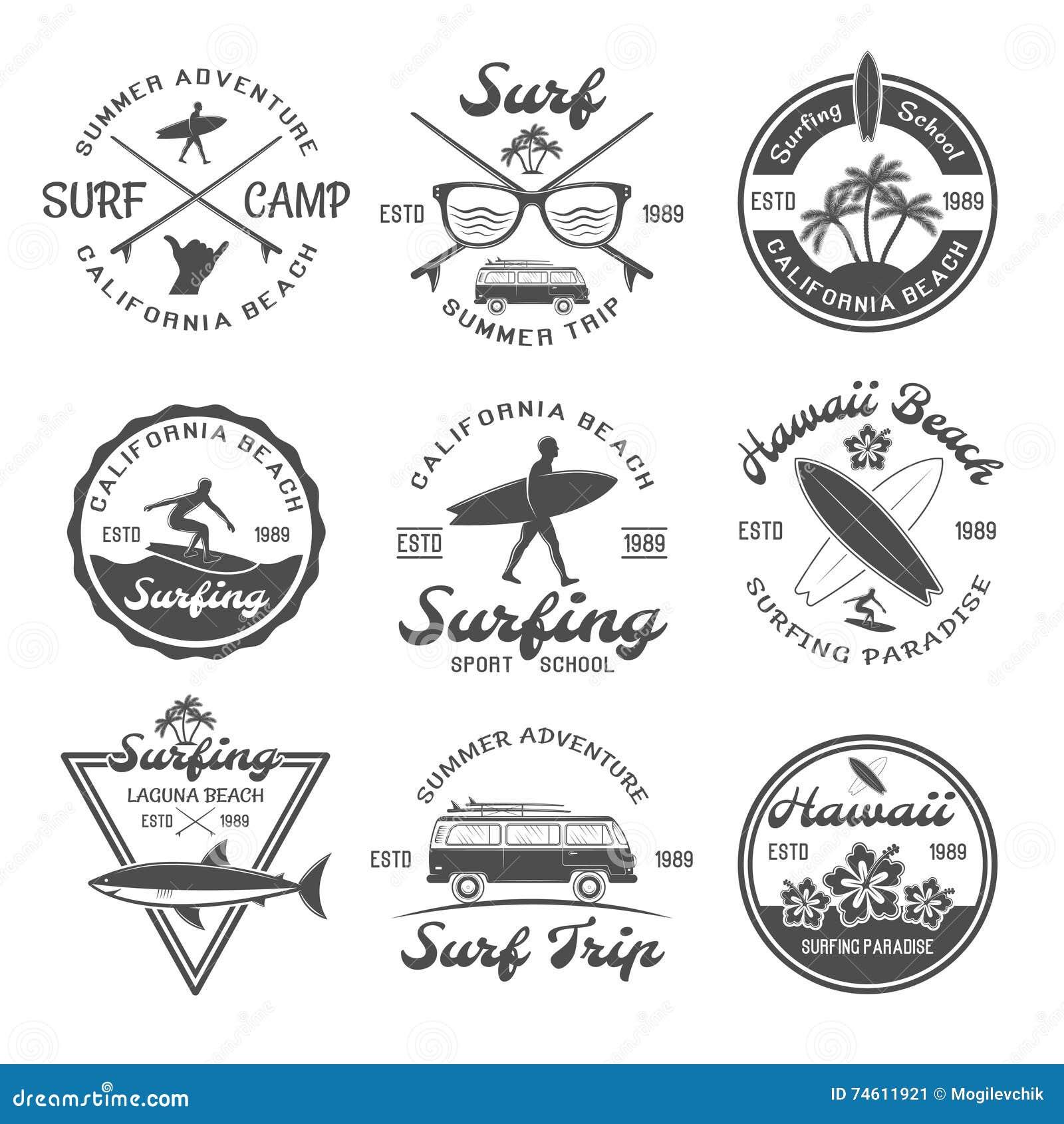 Surfingu emblemata set