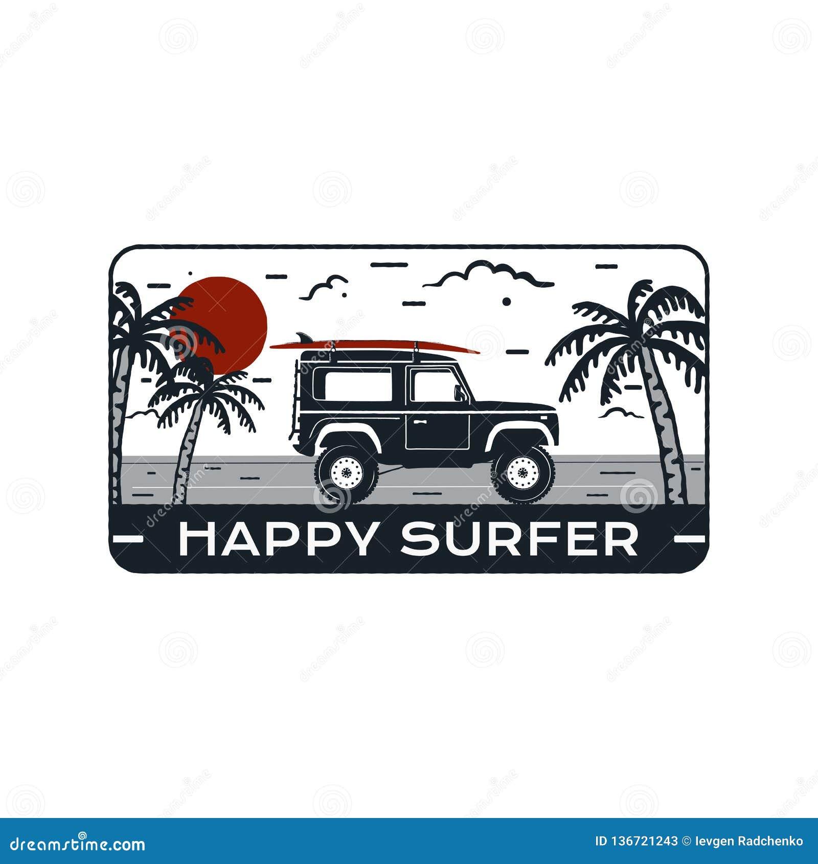 Surfingu loga emblemat Rocznik podróży ręka rysująca odznaka, plakat Uwypuklać kipieli samochodową jazdę na morze krajobrazie i p