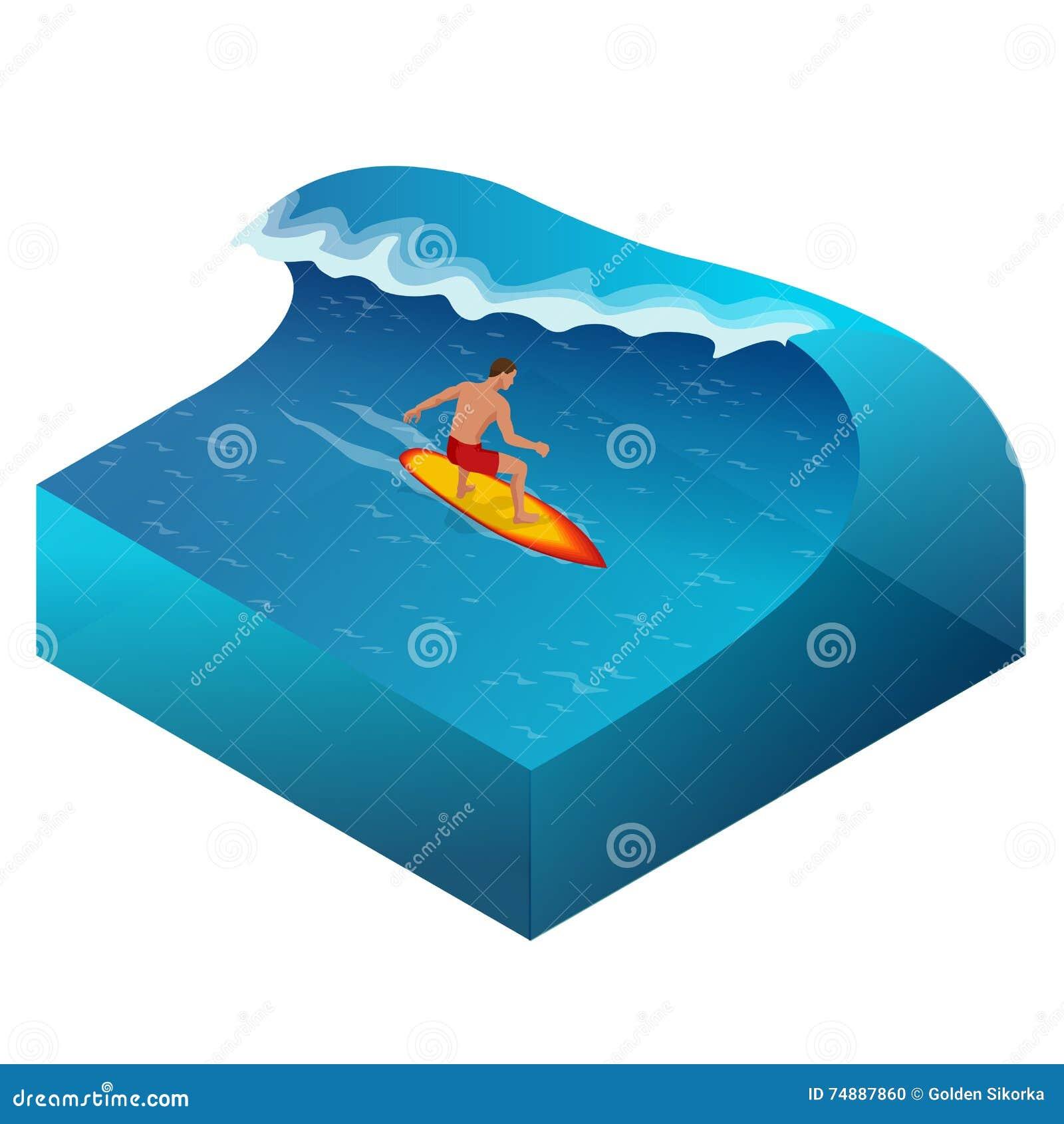 Surfista na onda de oceano azul no tubo que obtém Barreled