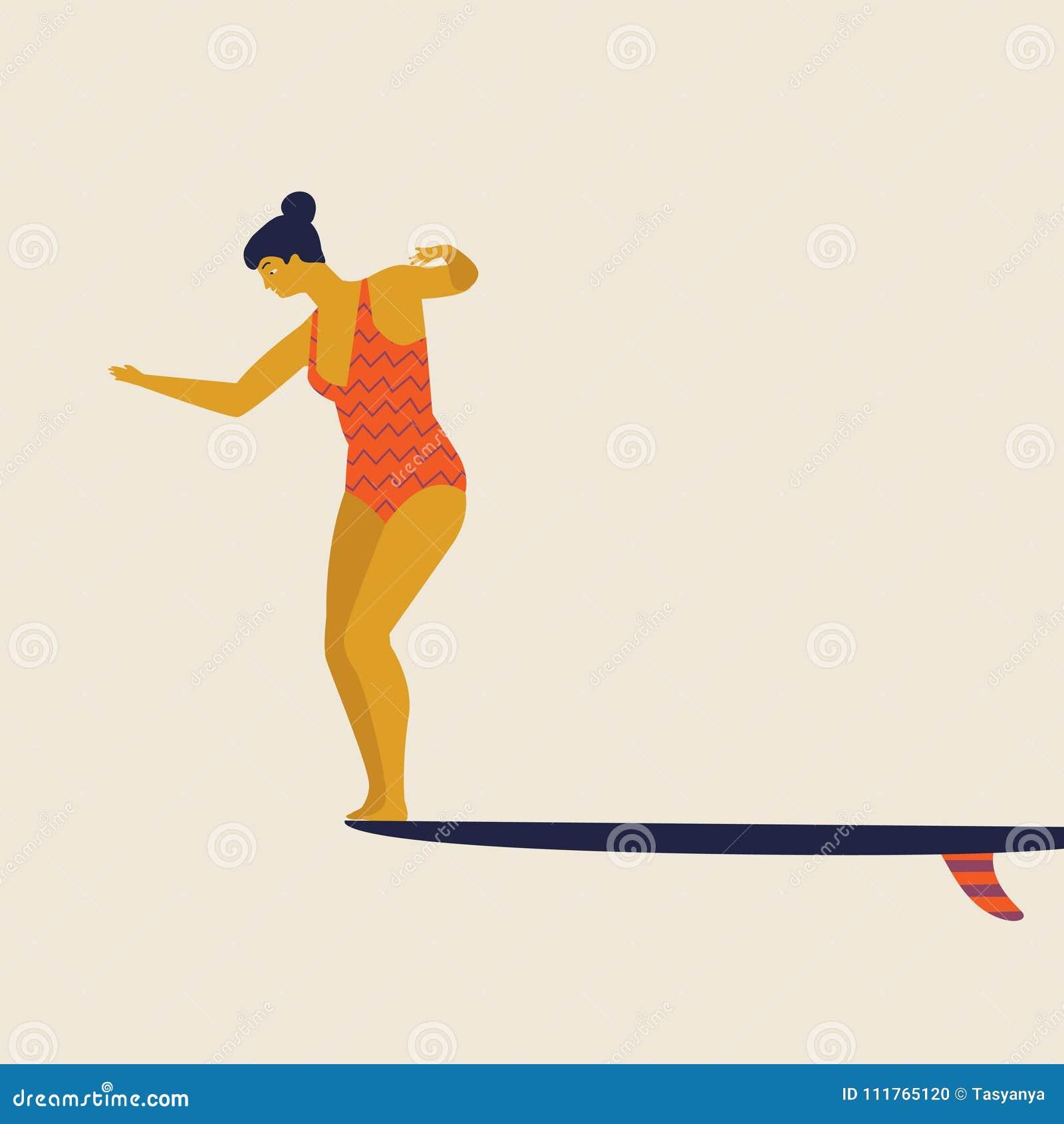 Surfistas da menina na ilustração do vetor do biquini Ilustração lisa do estilo Ilustração da praia do verão Mulheres de Longboar