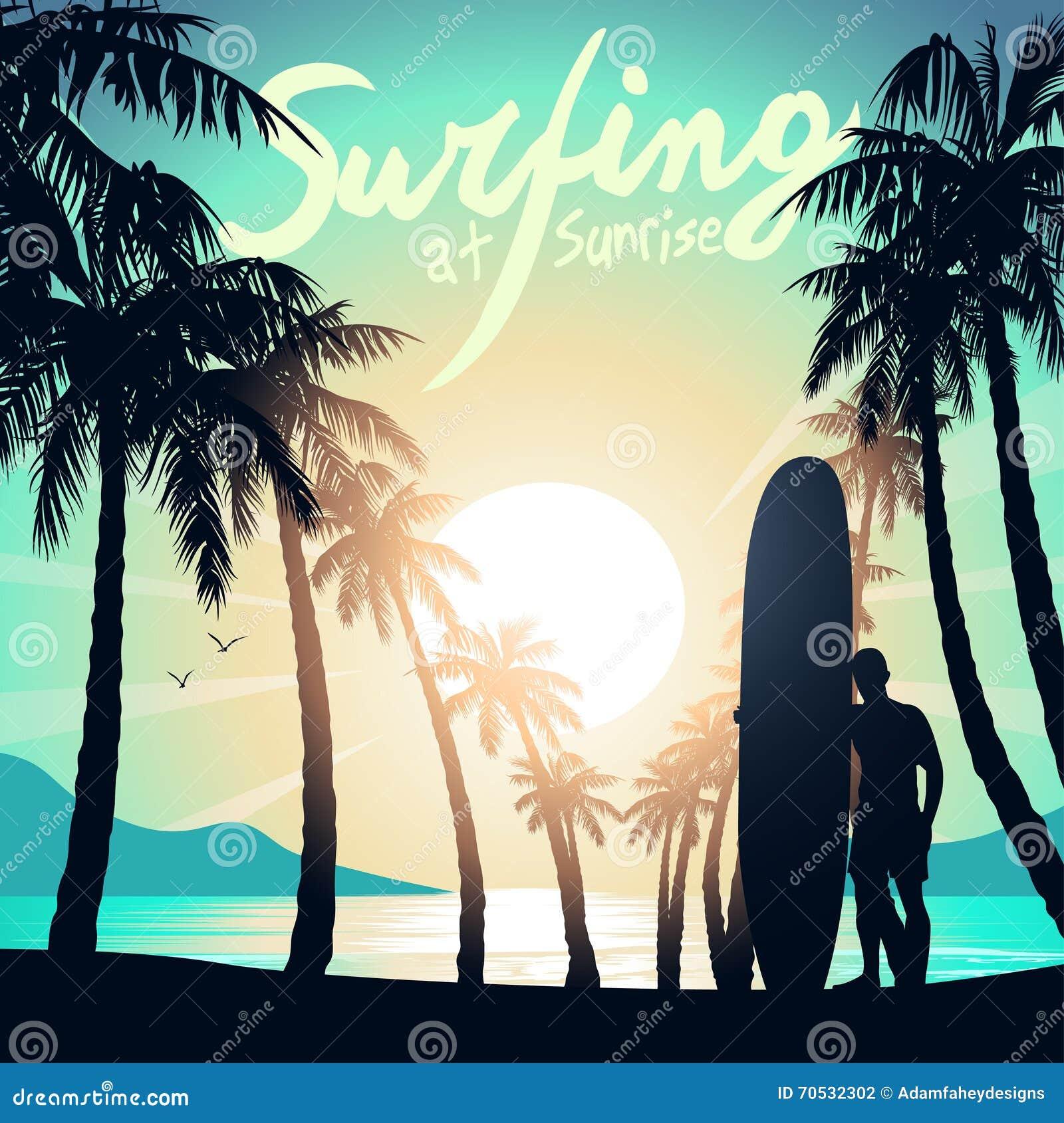 Surfować przy wschodem słońca z longboard surfingowem