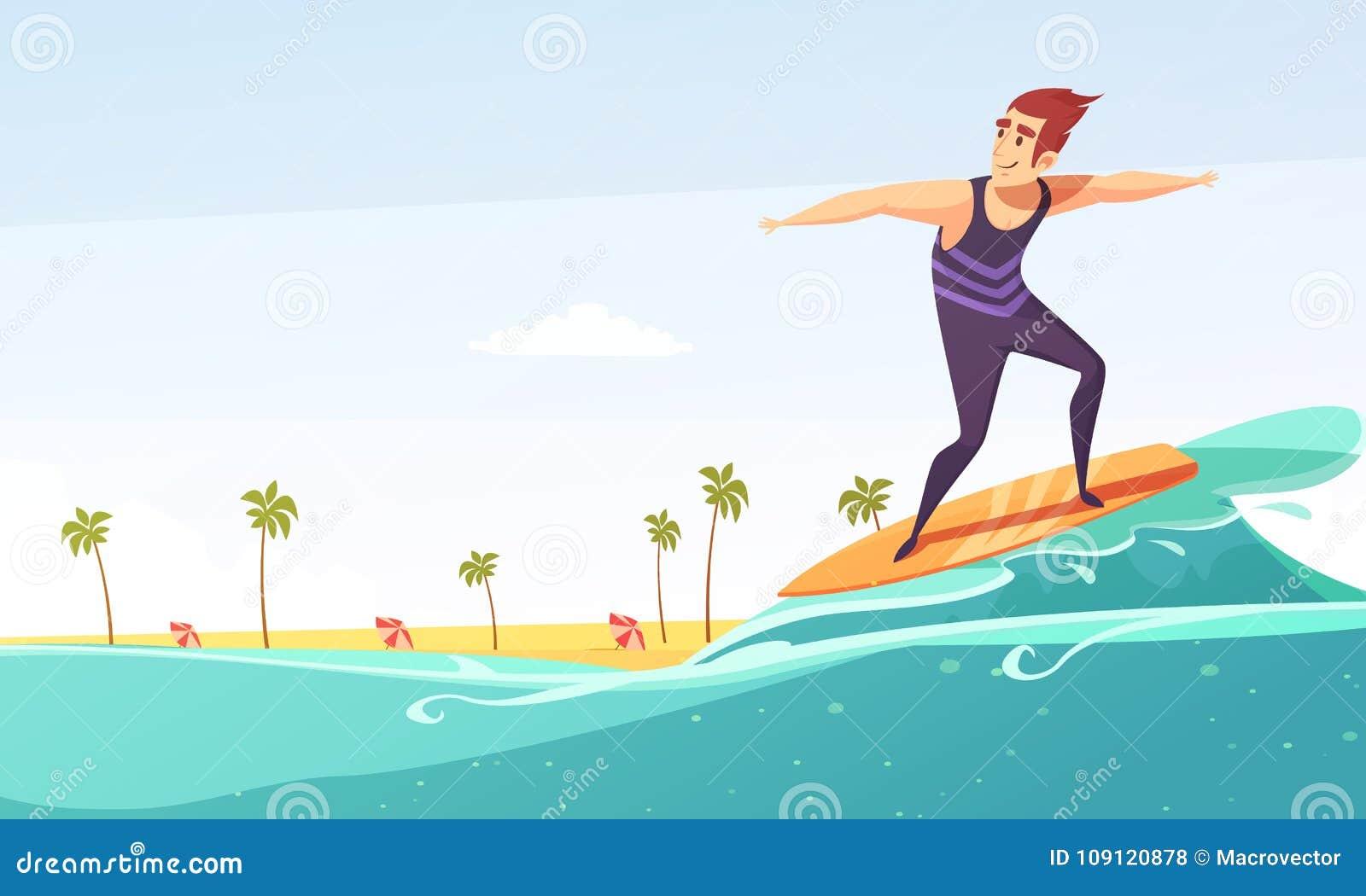 Surfować Tropikalnego Plażowego kreskówka plakat