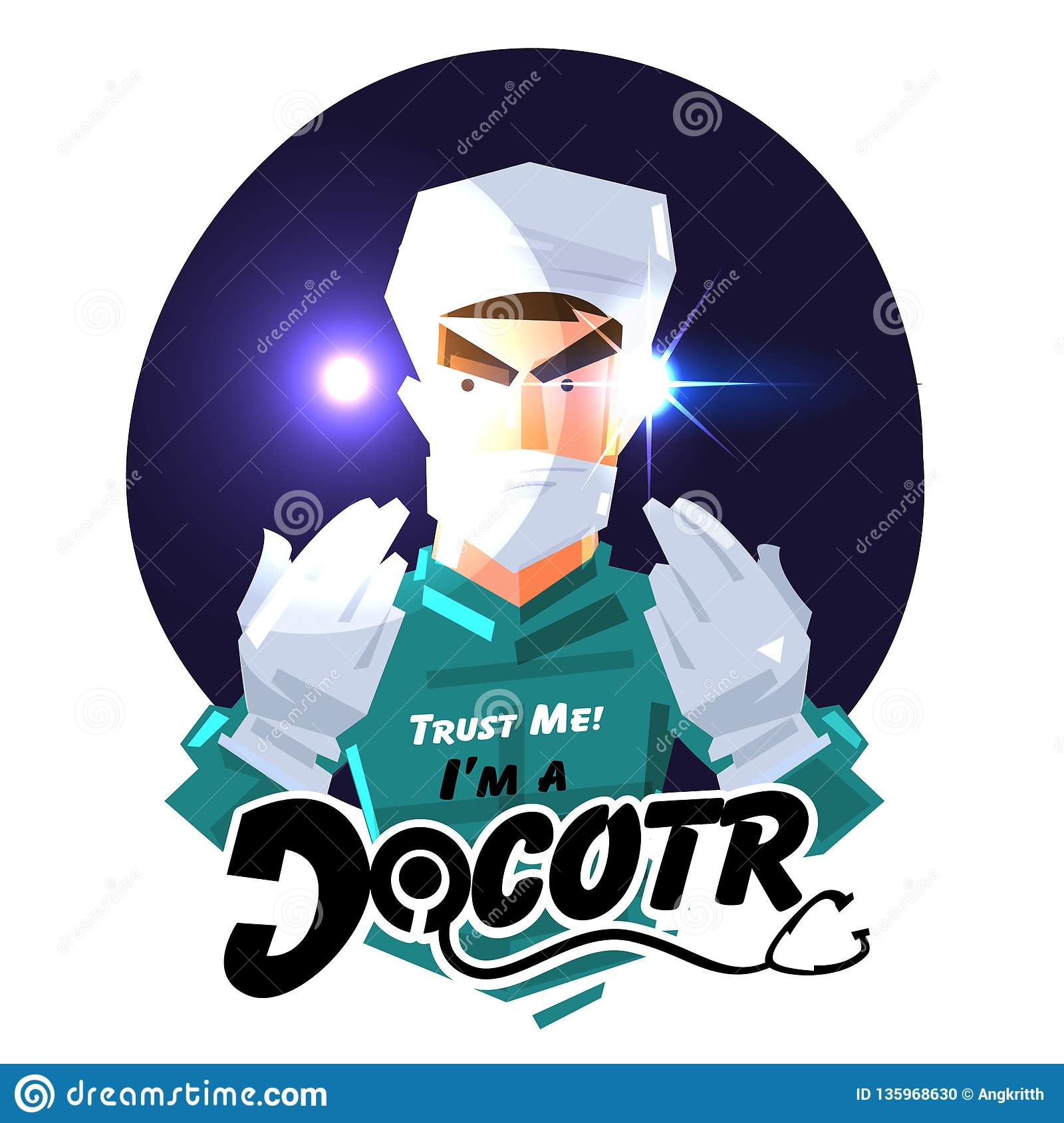 Surgeon Doctor Or Doctor Showing His Hand To Trust Hime Career Logo Concept Typographic Design Vector Stock Illustration Illustration Of Care Logo 135968630