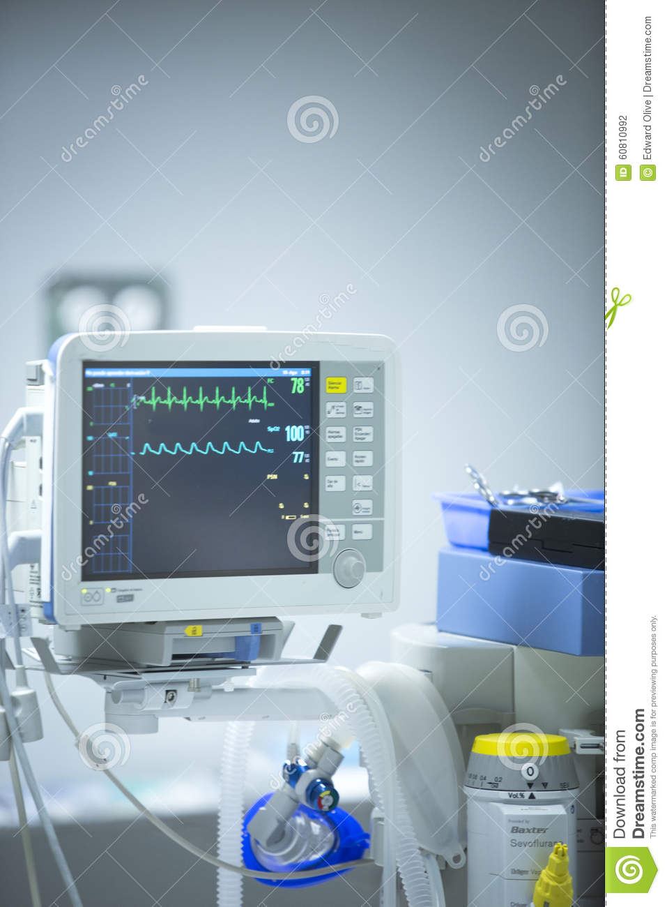 Surgery Hospital Operating Room Heart Rate Monitor Stock