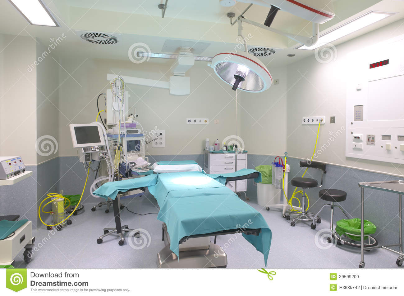 Surgery room interior with medical equipment stock photo for Interior decoration equipment