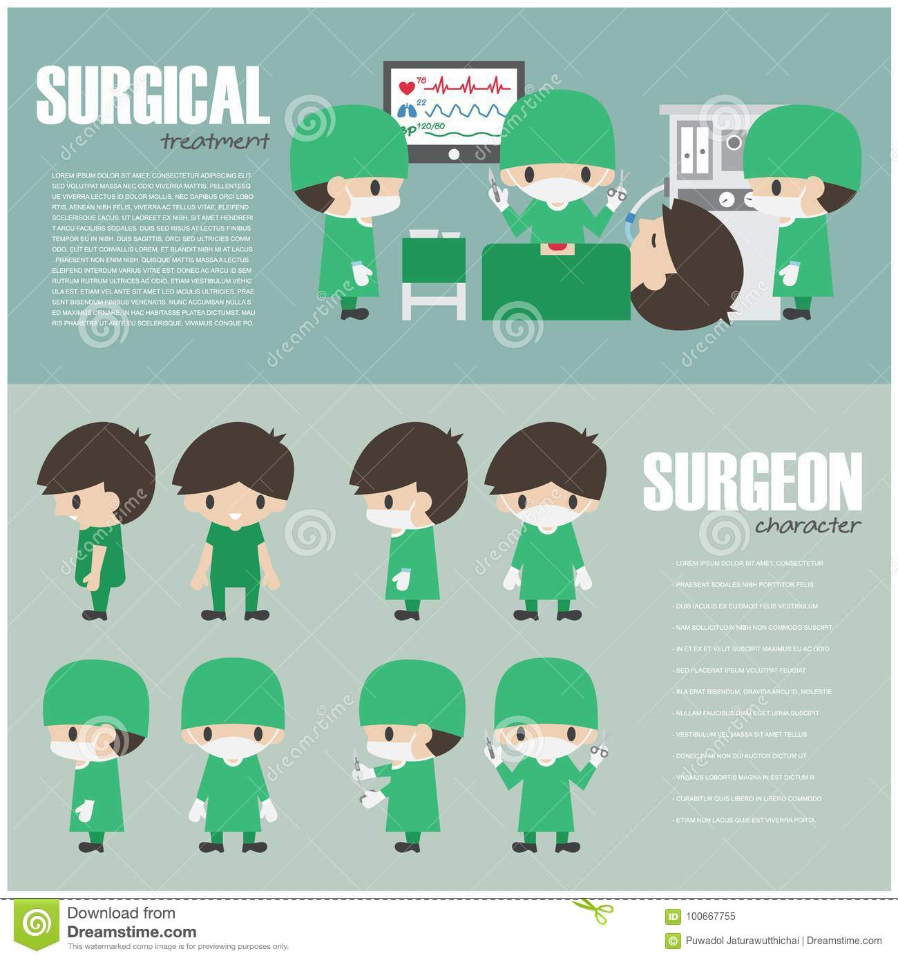 Surgical Infographics Element And Set Of Surgeon Cartoon Character