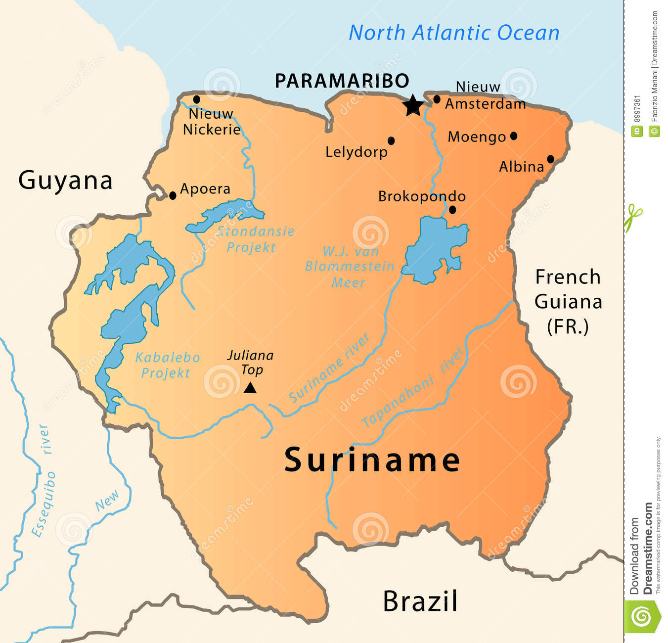 Suriname Map Stock Vector Image Of Earth French Guyana - Where is suriname on the map