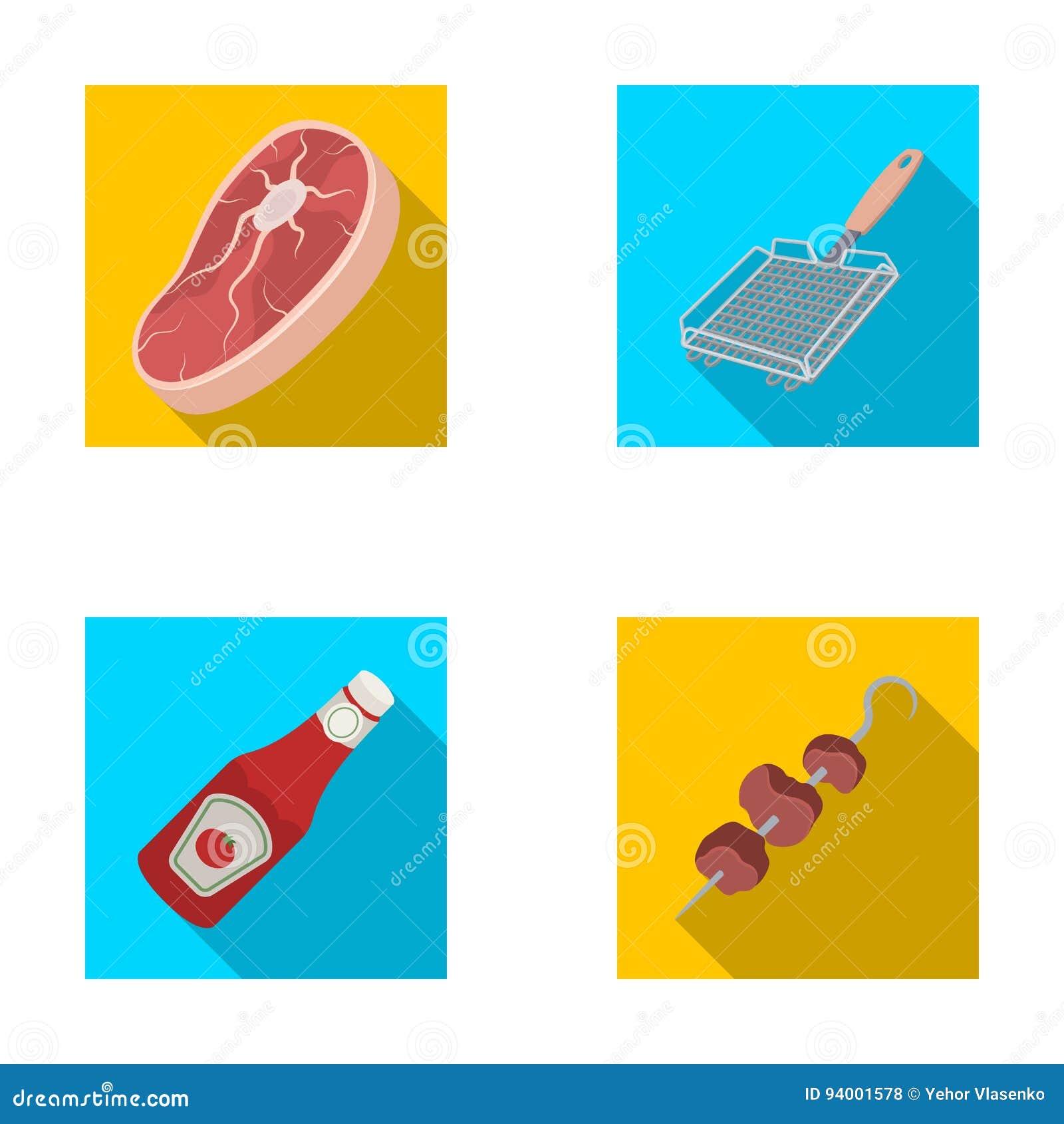 Surowego mięsa stek, grill z rękojeścią, butelka ketchup, shish kebab BBQ ustalone inkasowe ikony w mieszkaniu projektują wektoro