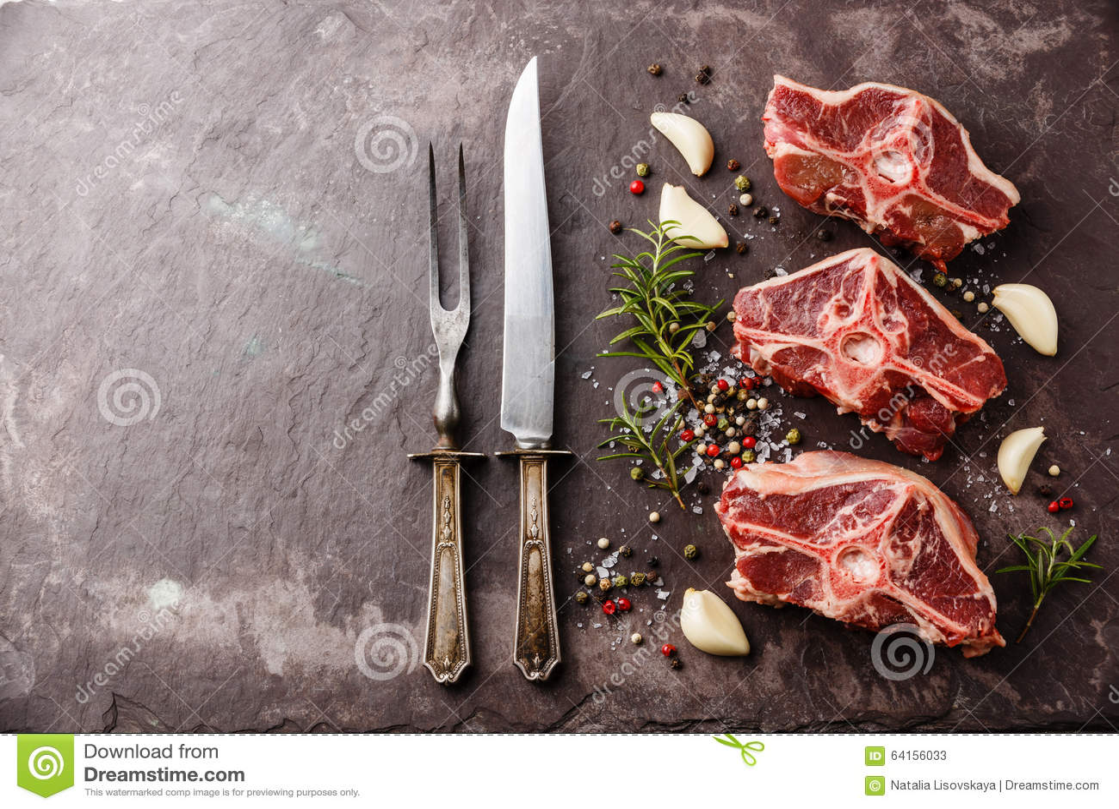Surowy świeżego mięsa baraniny jagnięcy comber