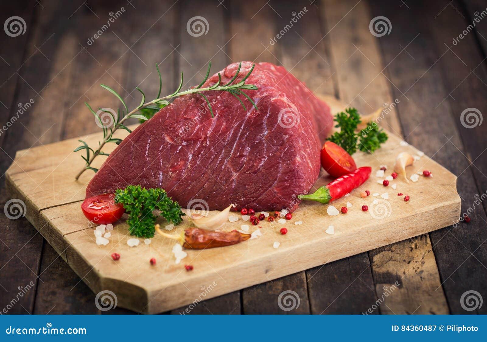 Surowy wołowiny mięso z pikantność