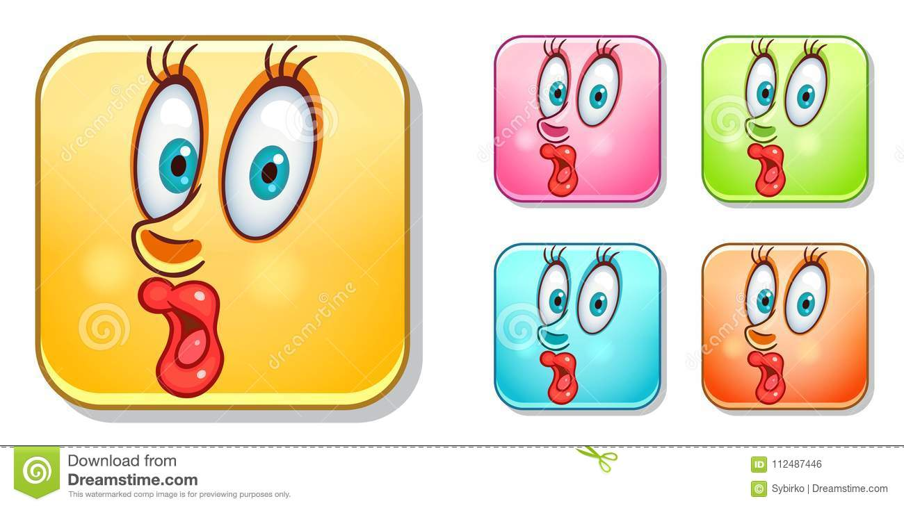 Surprised Emoticons Collection Stock Vector Illustration Of