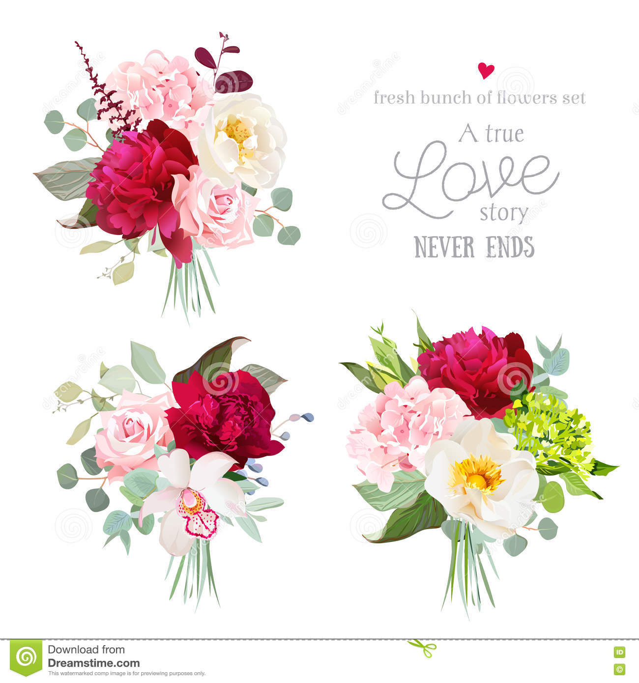 Surprise bouquets of rose, peony, green and pink hydrangea, orchid and eucalyptus leaves