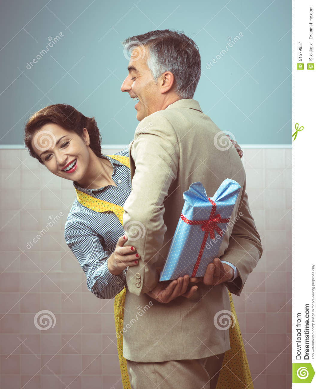 A Surprise Gift For Her Stock Image. Image Of Laughing