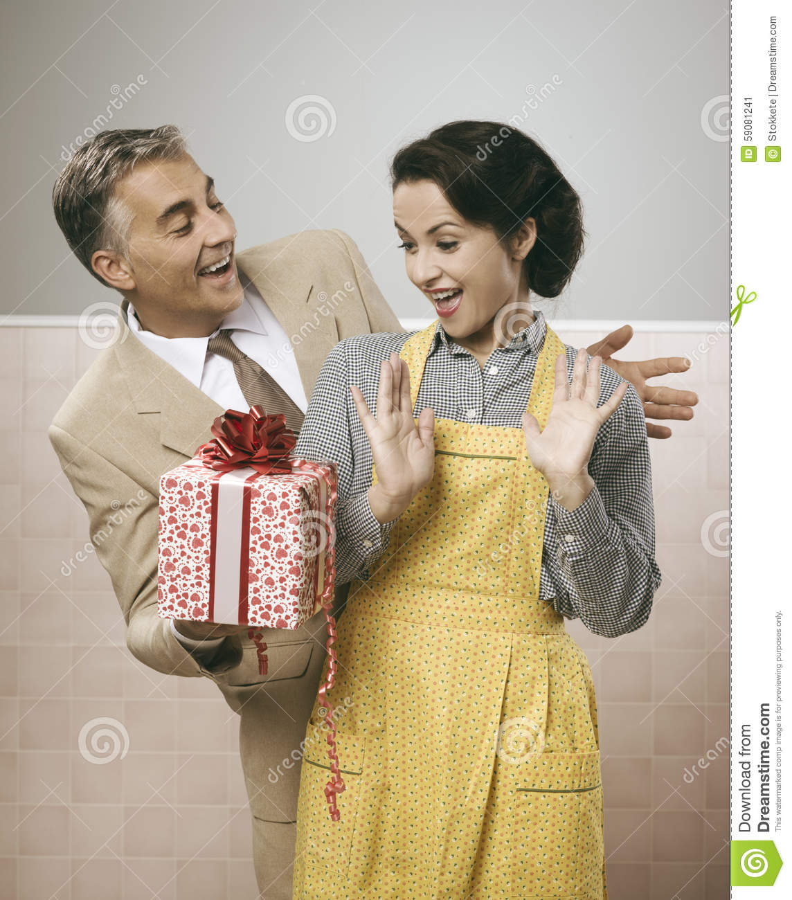 A Surprise Gift For Her Stock Photo