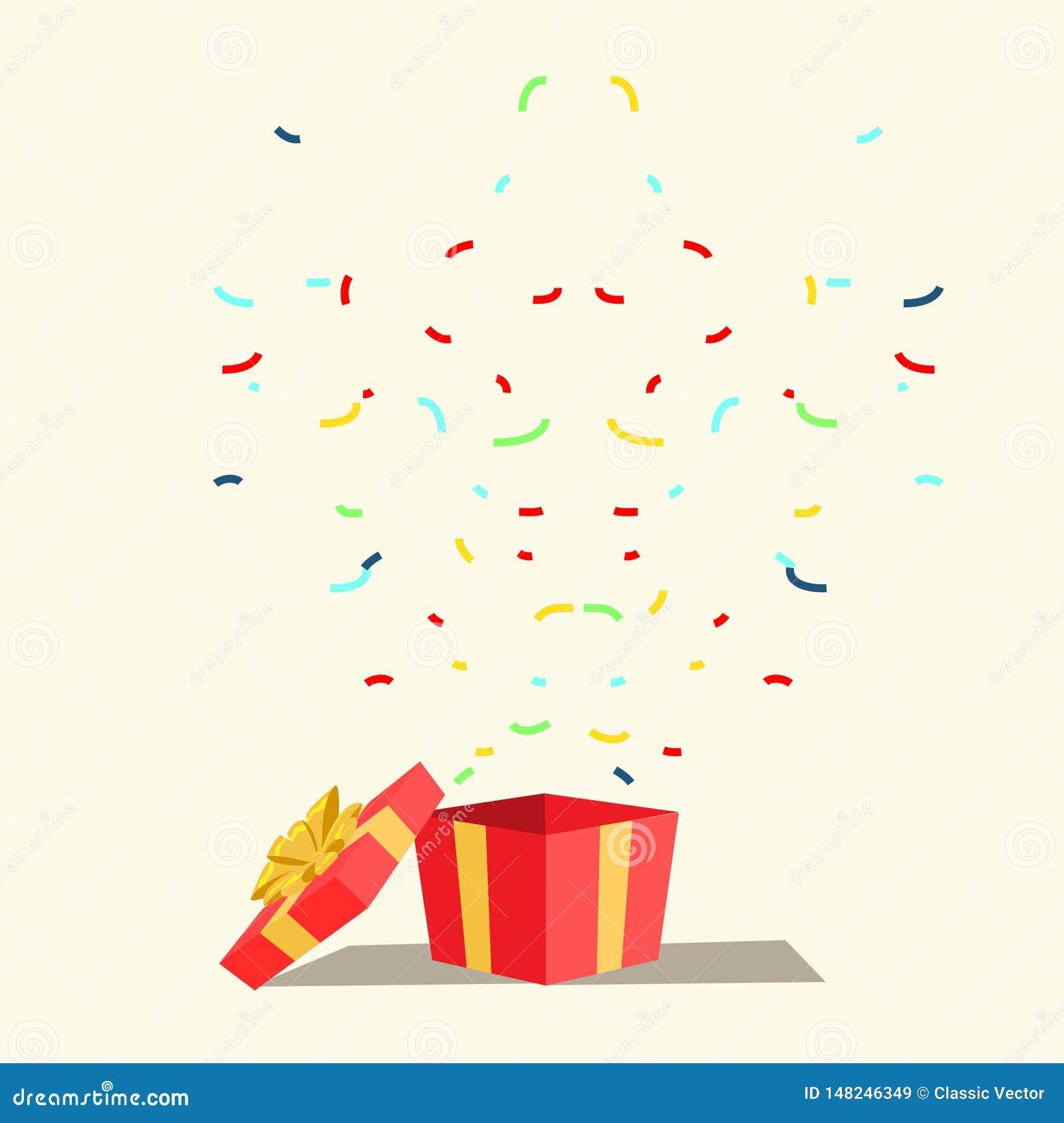 Surprise Gift Present Flat Vector Illustration Stock Vector