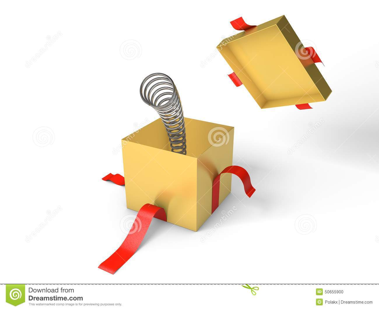 ... Illustration: Surprise. Open golden gift box with the spring inside