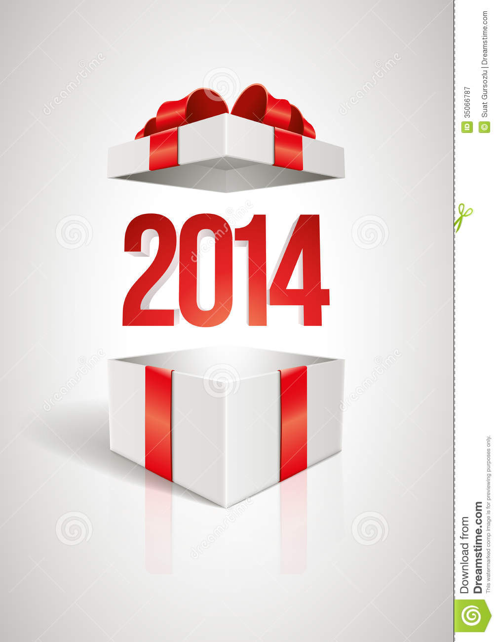 Vector Surprise 2014 Open Gift Box Design Template Elements Are Layered Separately In File