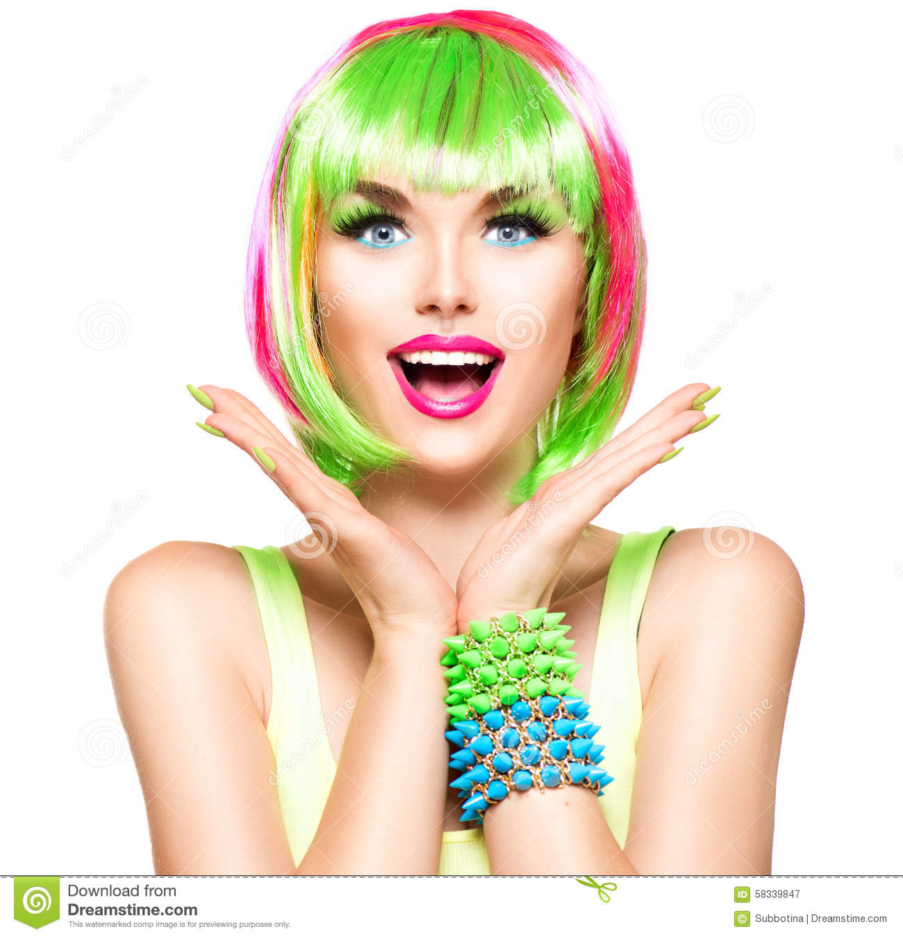 Surprised beauty model girl with colorful dyed hair