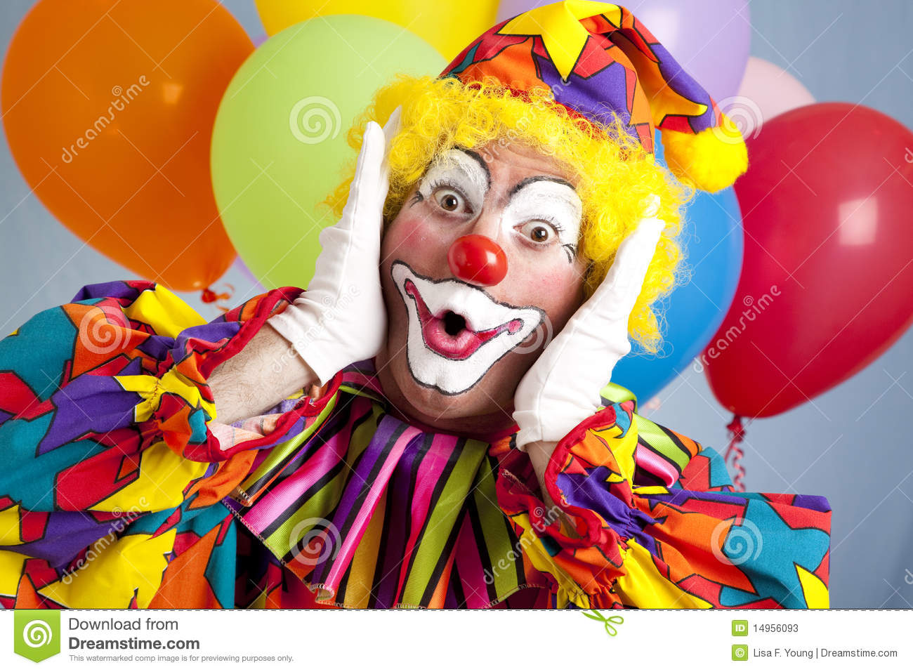 Surprised Birthday Clown Stock Image Image Of Makeup