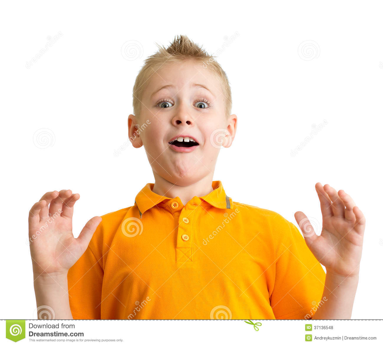 Surprised Boy With Funny Expression Isolated Royalty Free