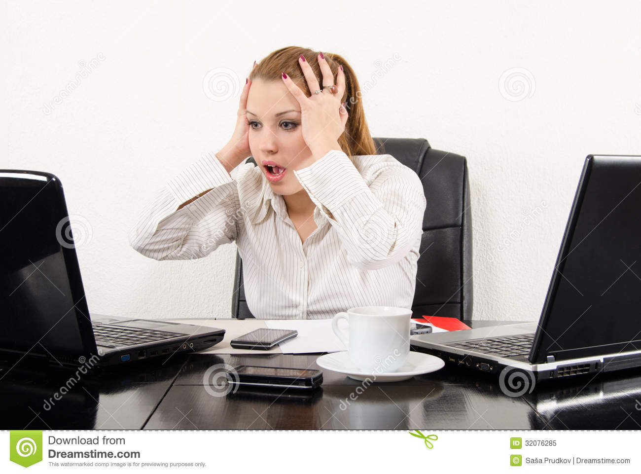 Surprised Business Woman Multitasking Stock Image - Image ...