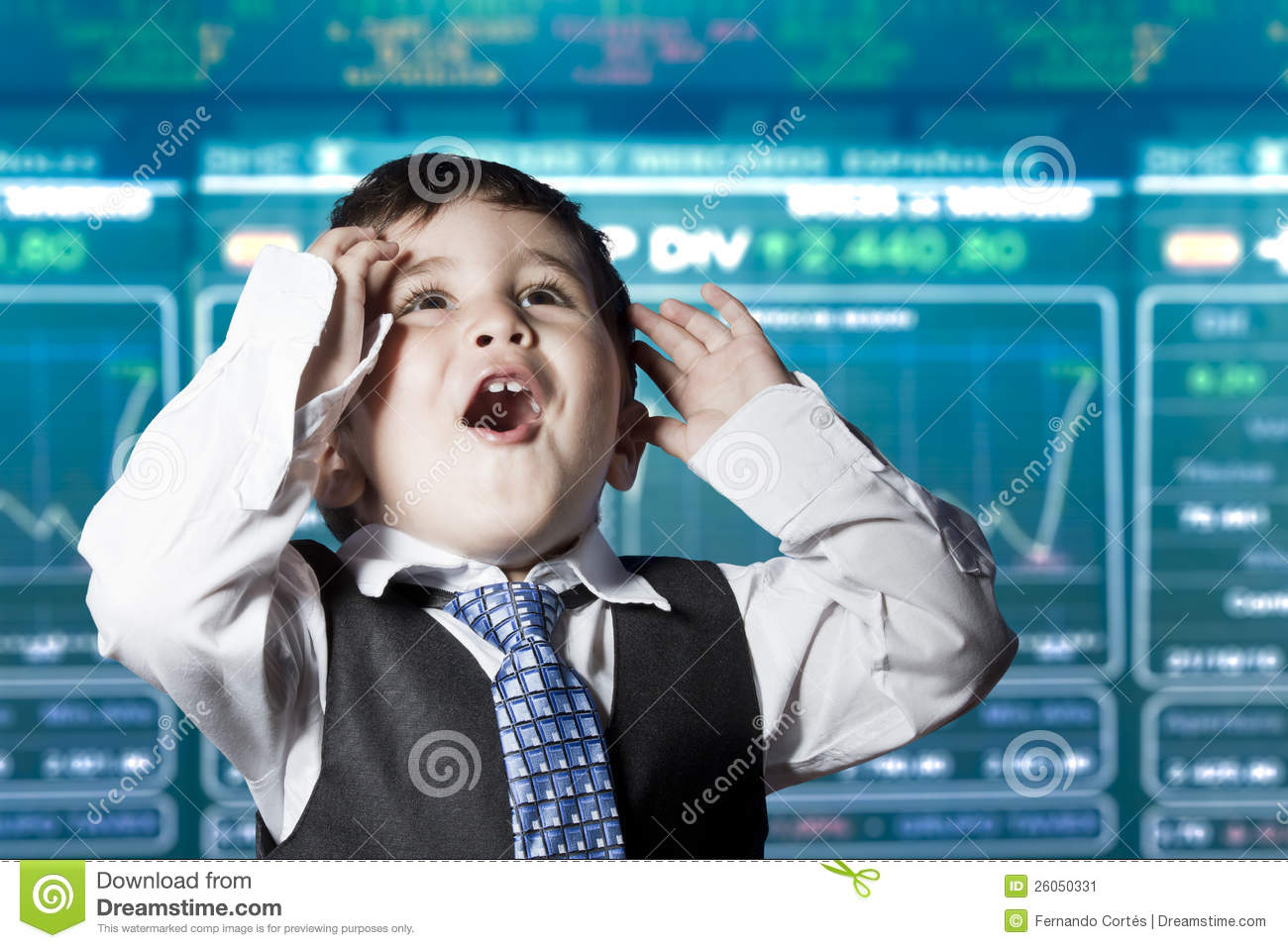 surprised businessman child in suit stock market stock