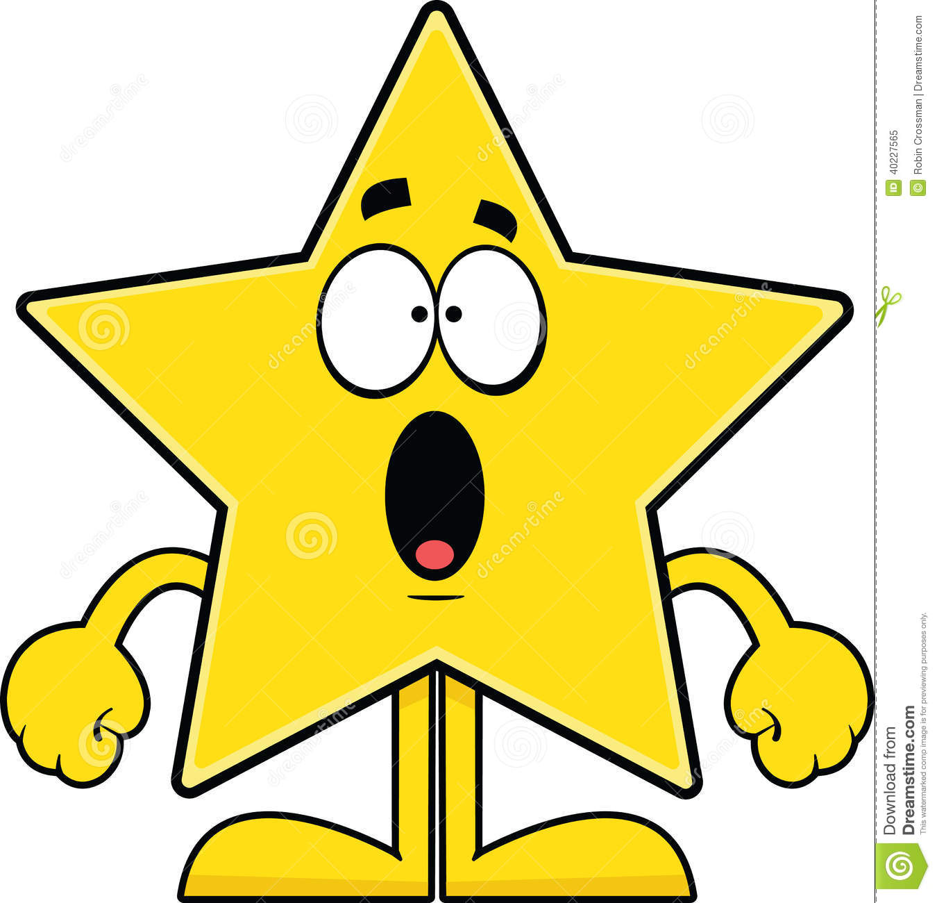 Cartoon illustration of a star with a surprised expression.
