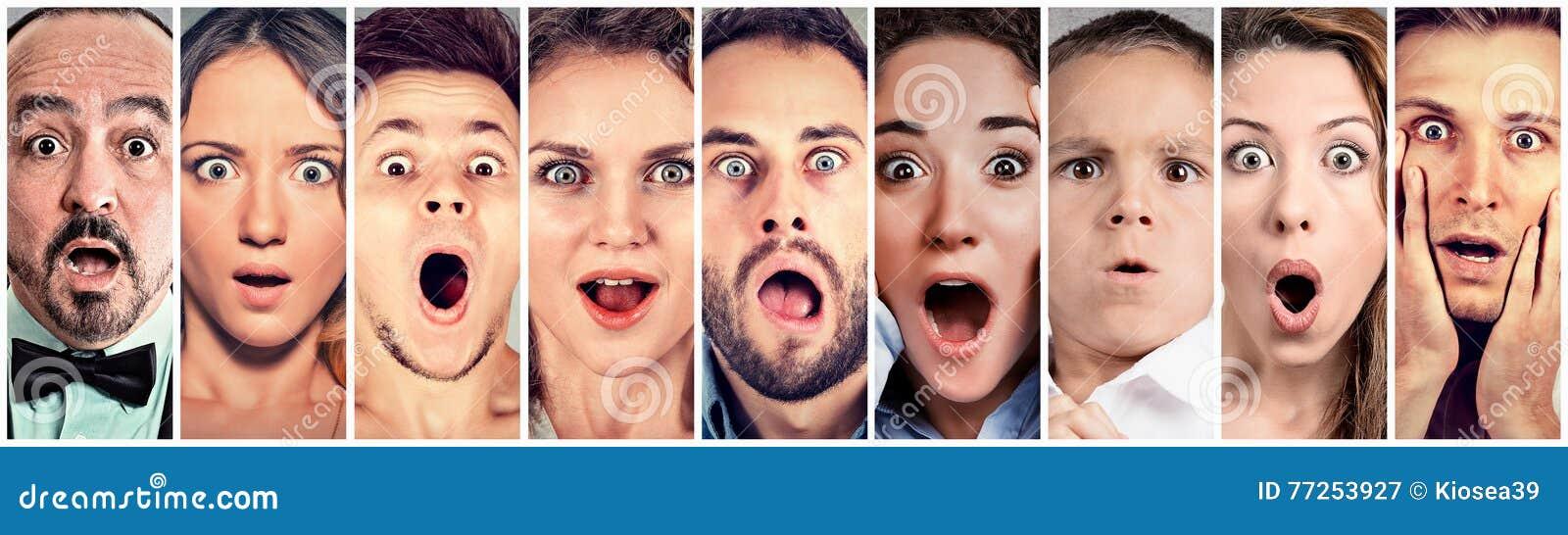 Surprised chocó a gente Reacción humana de las emociones
