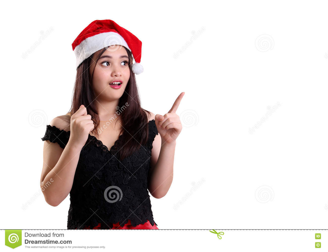 bfb90115c7 Surprised Christmas Girl Pointing At Copyspace Stock Photo - Image ...