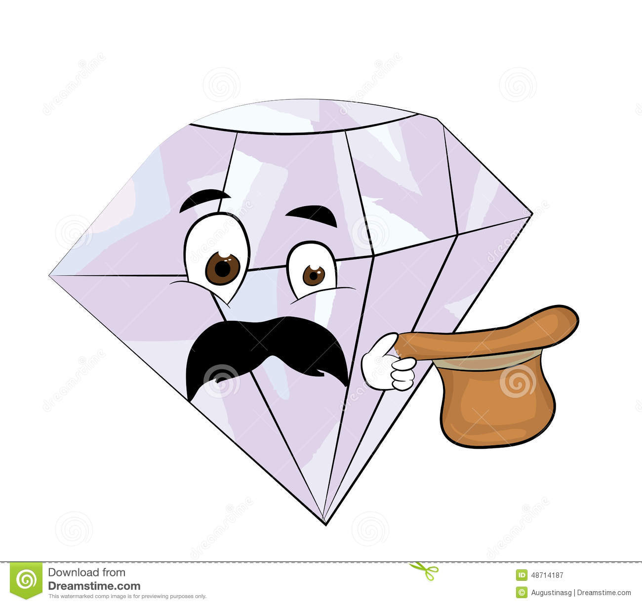 Surprised Diamond Cartoon Stock Illustration - Image: 48714187