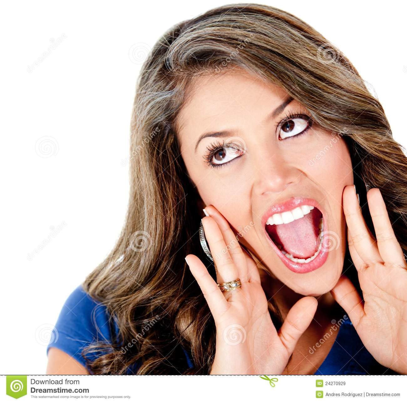 Surprised Girl Shouting Stock Image Image Of Adult