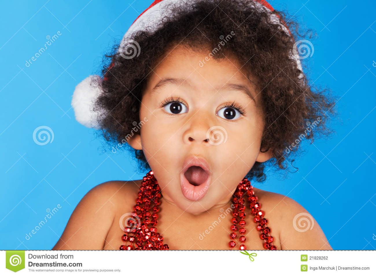 Surprised Little Child In Christmas Hat Stock Photography - Image ...