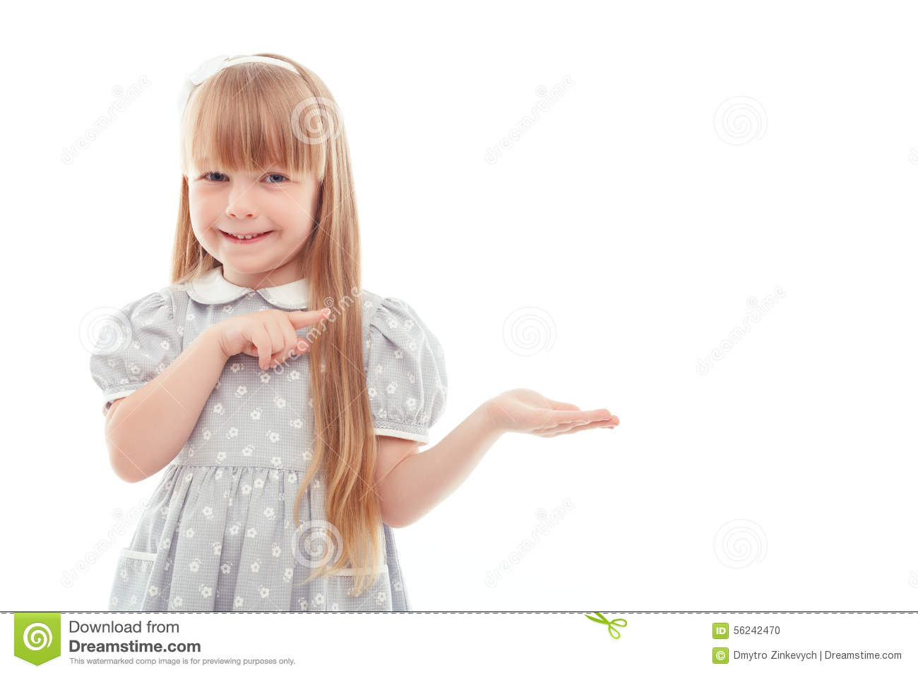 Surprised Little Girl Pointing Left Stock Photo - Image ...