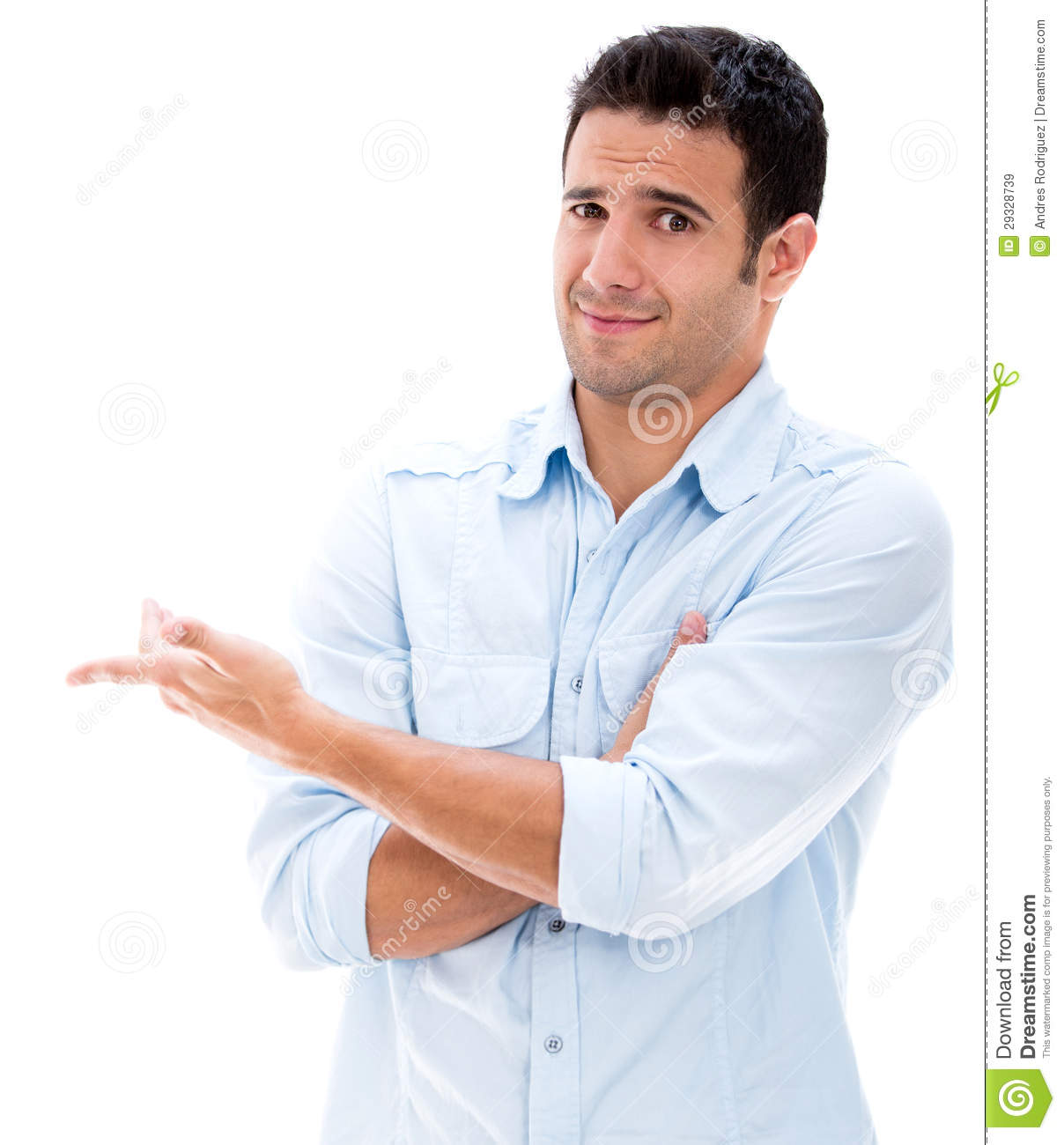 Surprised man making gestures - isolated over a white background.