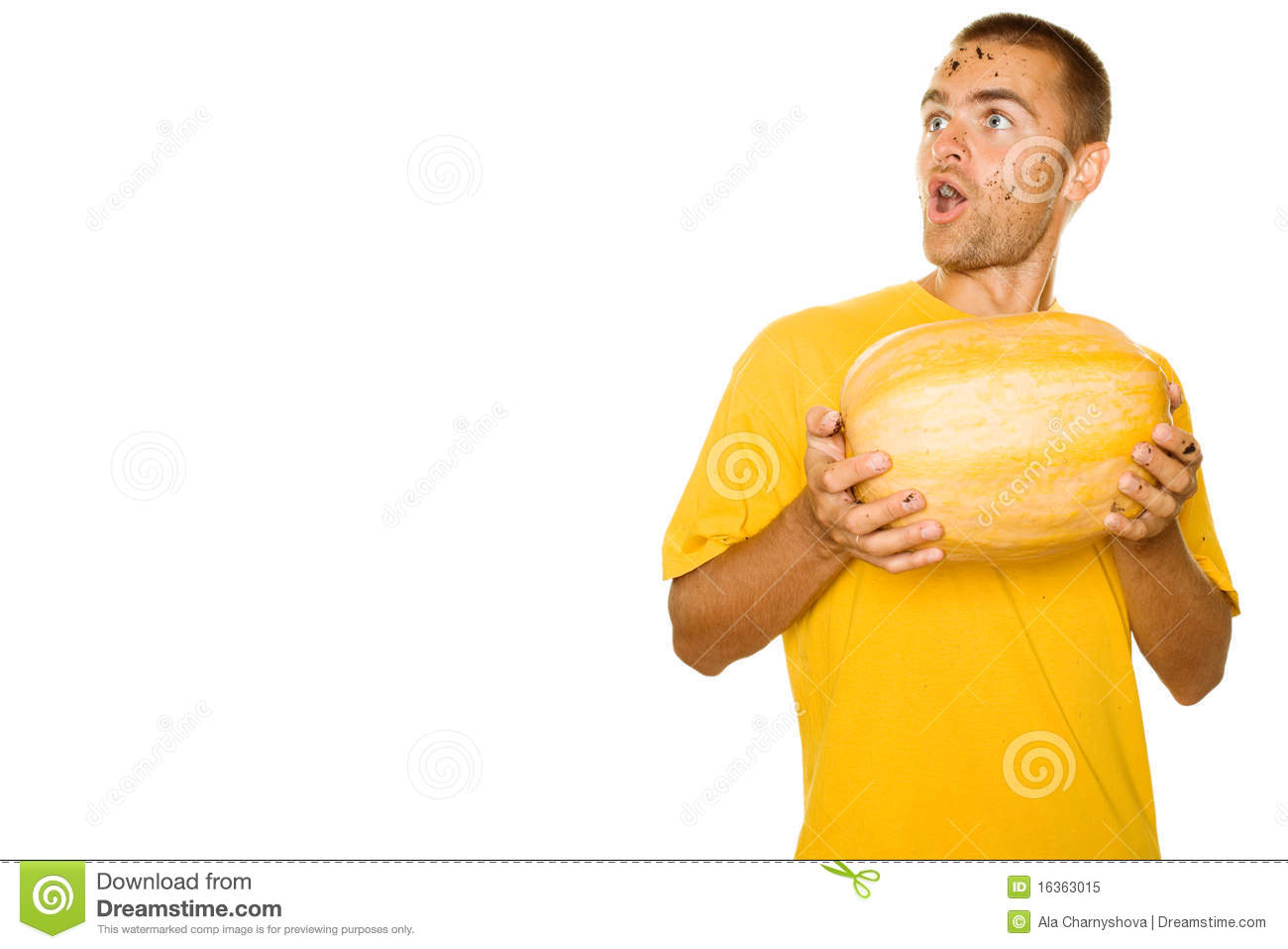 Surprised man with a pumpkin royalty free stock photo for Surprised pumpkin face