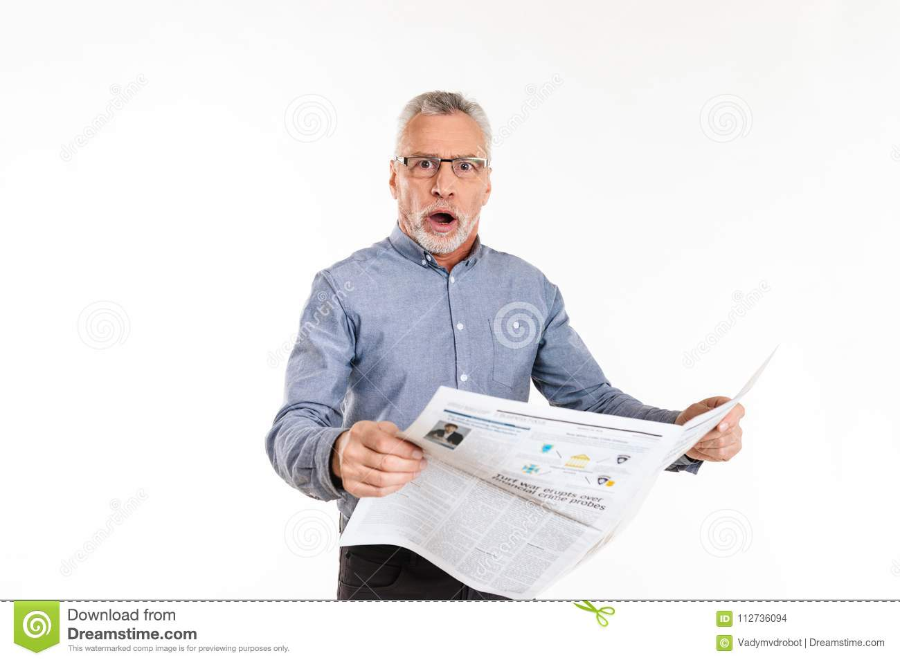 0602f70778 Surprised mature man in glasses looking camera with opened mouth and  holding newspaper isolated over white