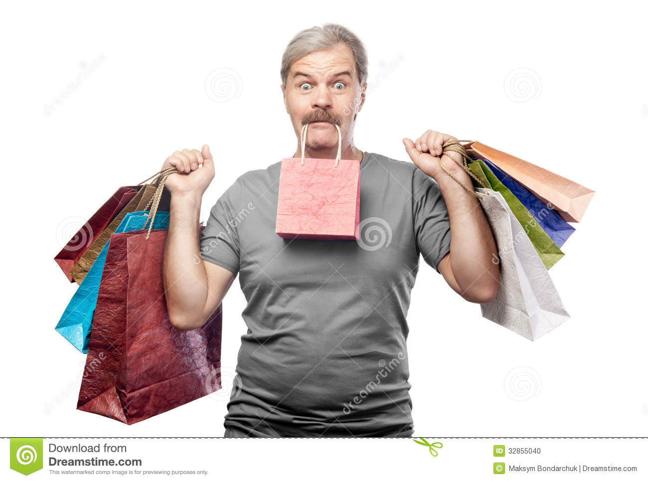 Surprised Mature Man Holding Shopping Bags Isolated On White Stock ...