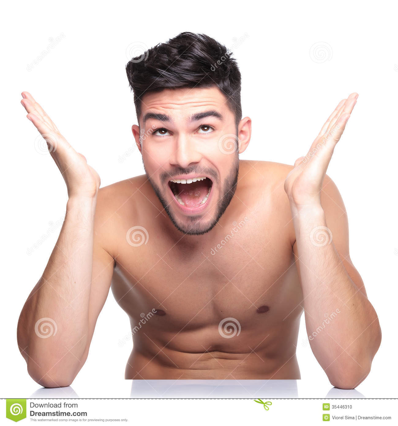 surprised naked man looking up stock photo - image of caucasian