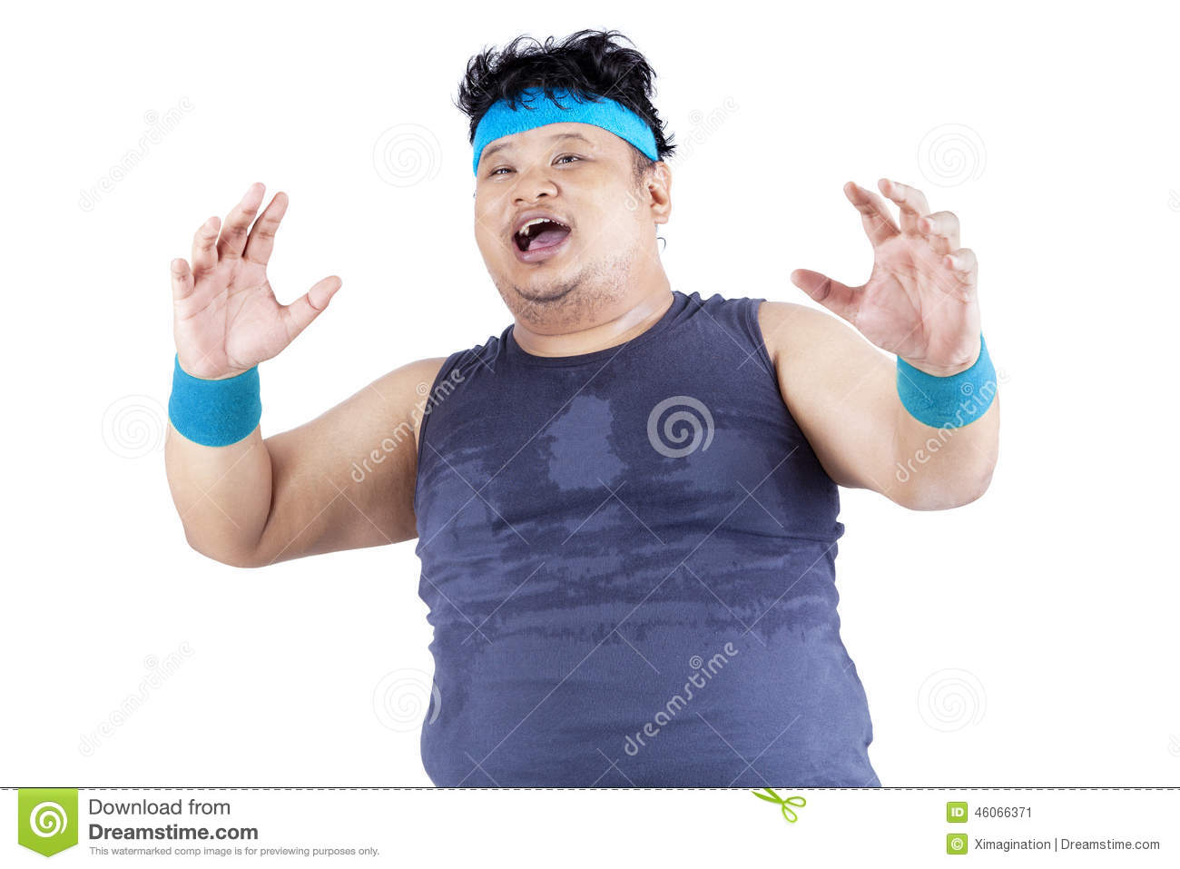 Surprised Overweight Person In Studio Stock Image