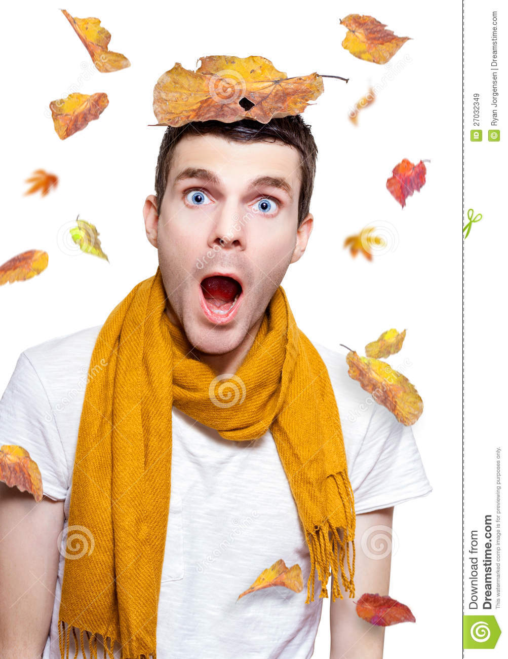 Surprised Person Having Fun With Tree Leaf On Head Royalty Free Stock ...