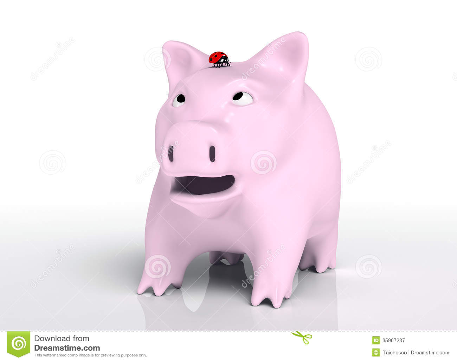 surprised piggy bank with ladybug on head royalty free stock  - background bank ladybird ladybug piggy