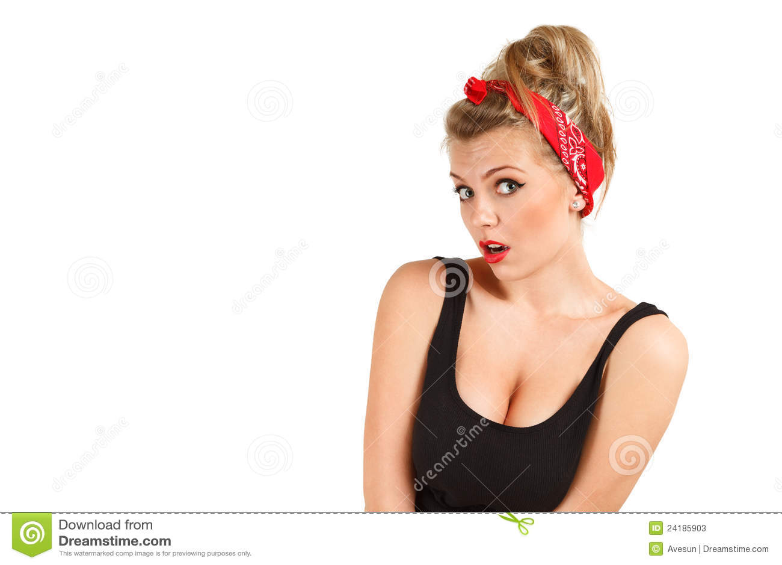Surprised pin-up girl stock image. Image of headshot - 24185903