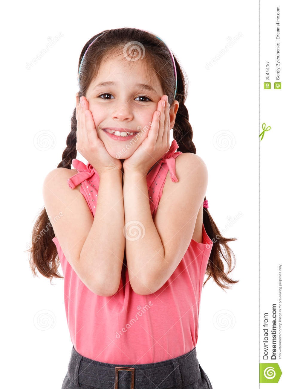surprised and smiling little girl royalty free stock