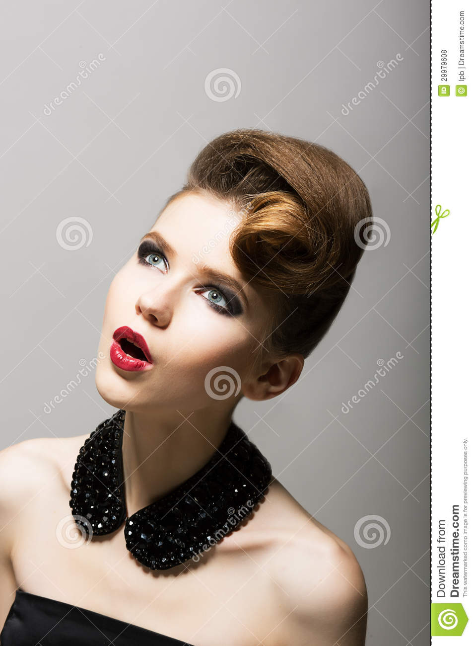... . Daze. Amazed Woman s Face. Surprised Young Person with Black Beads