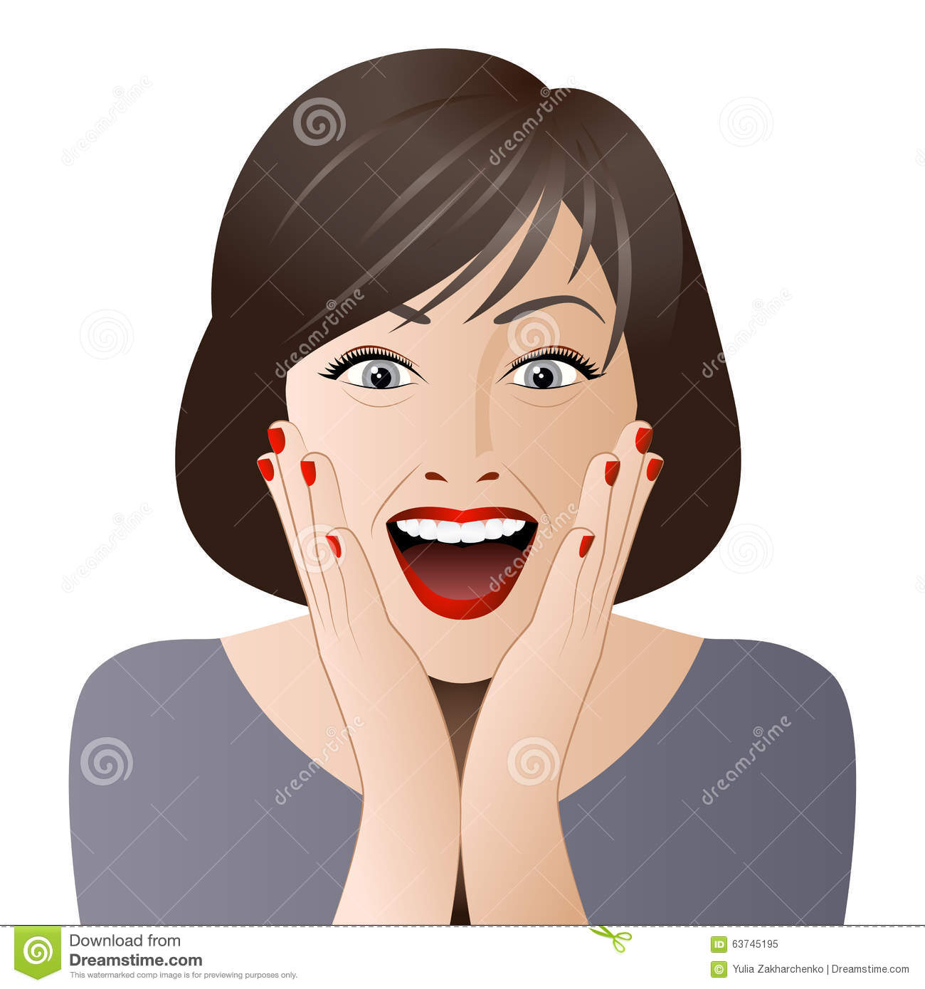 Surprised Woman Face For Sale Illustration Stock Vector ...