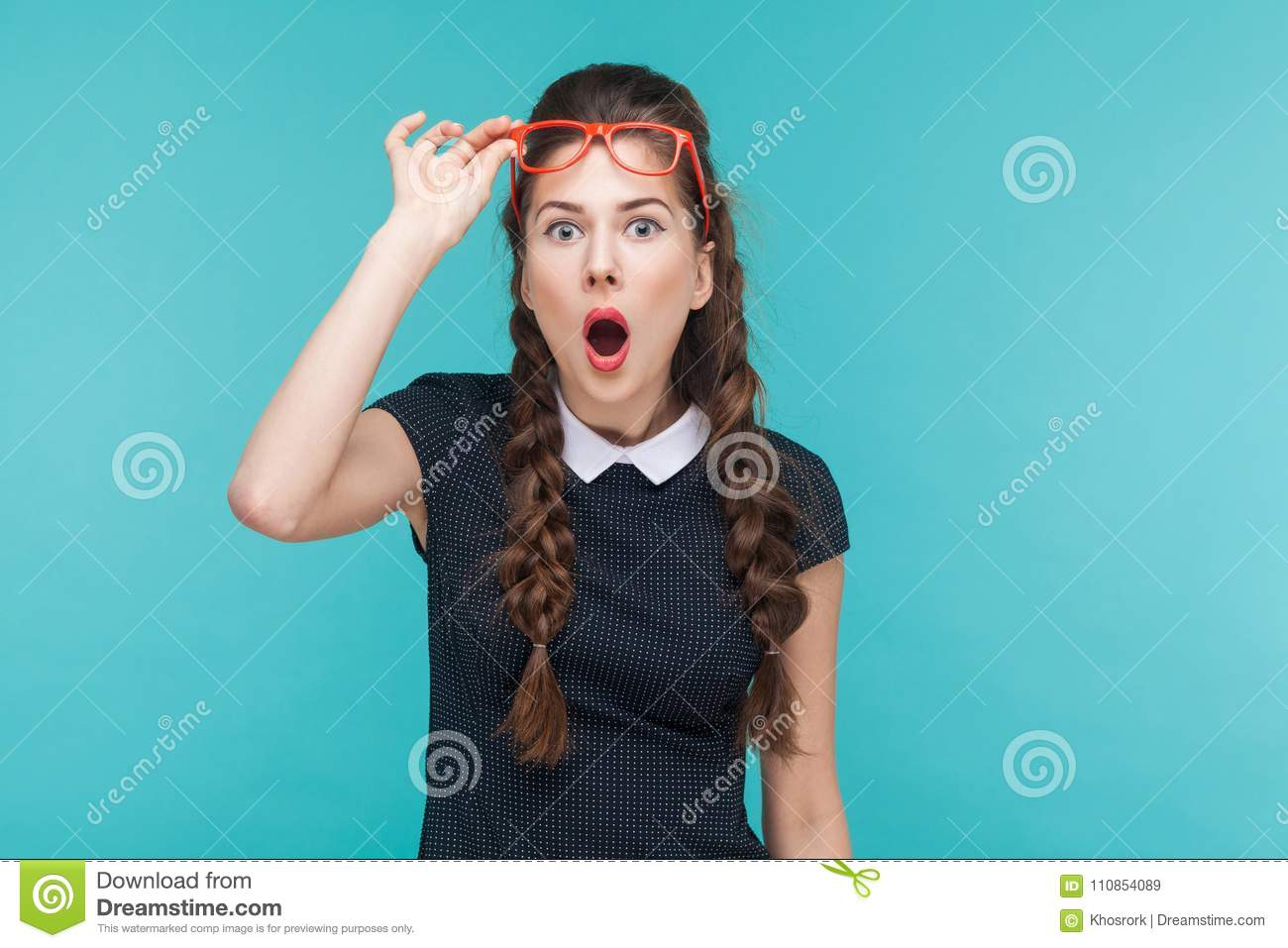 Download Surprised Woman In Red Glasses Amazement Looking At Camera Stock Image - Image of business, face: 110854089