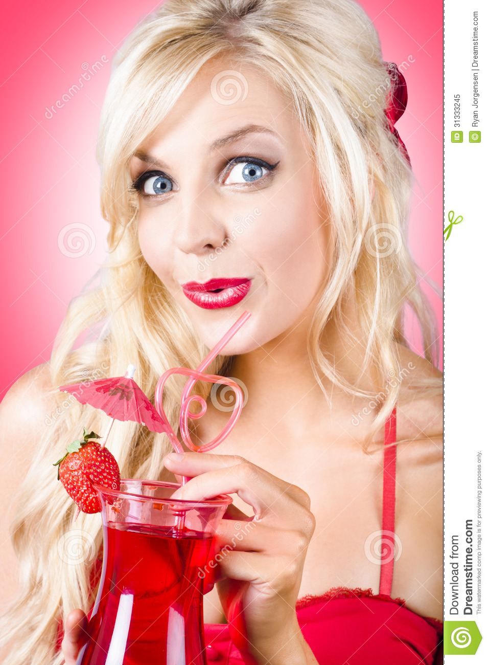 surprised young woman drinking nightclub cocktail royalty free stock