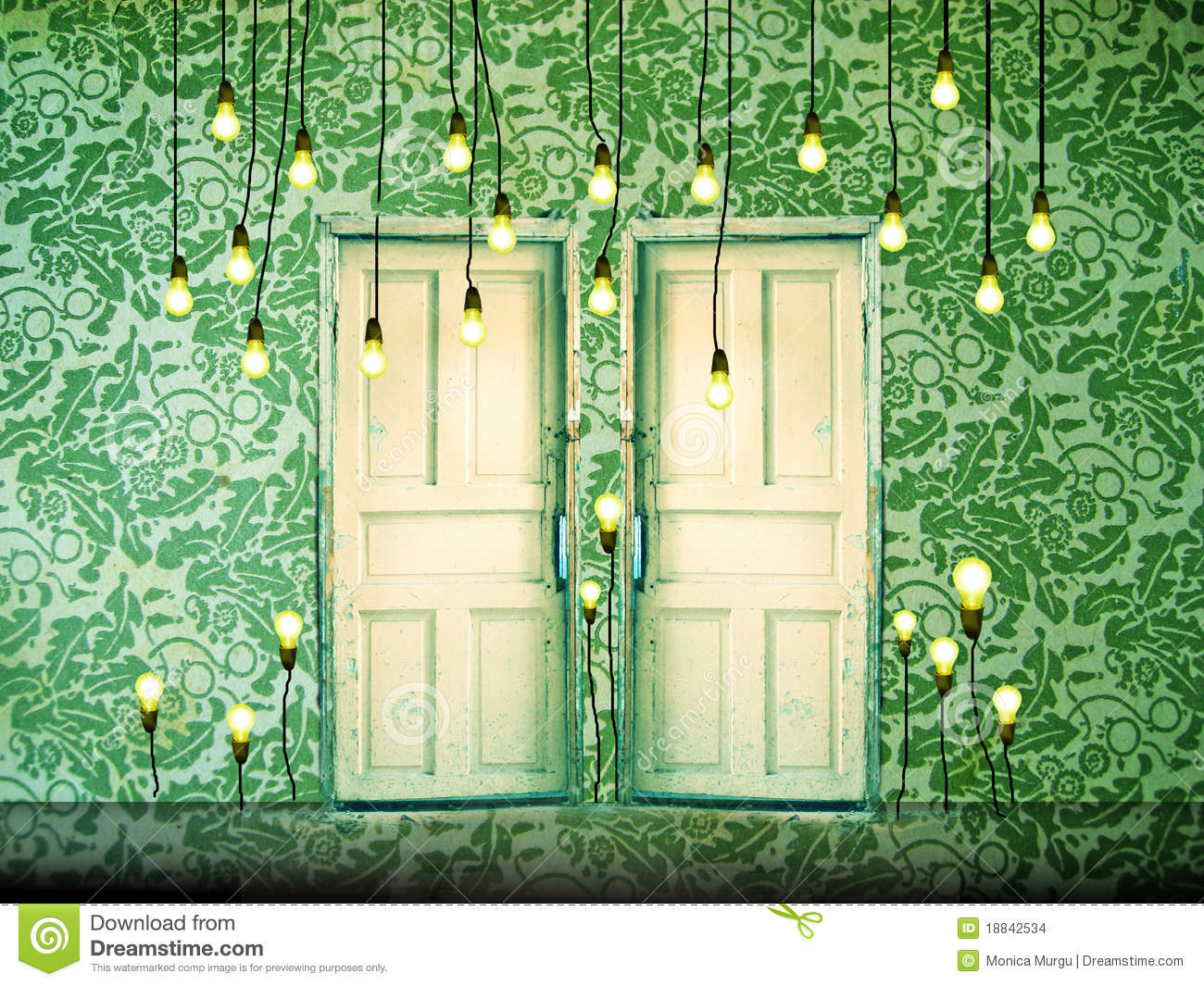 Surreal Background With Doors And Liht Bulbs Stock Photo