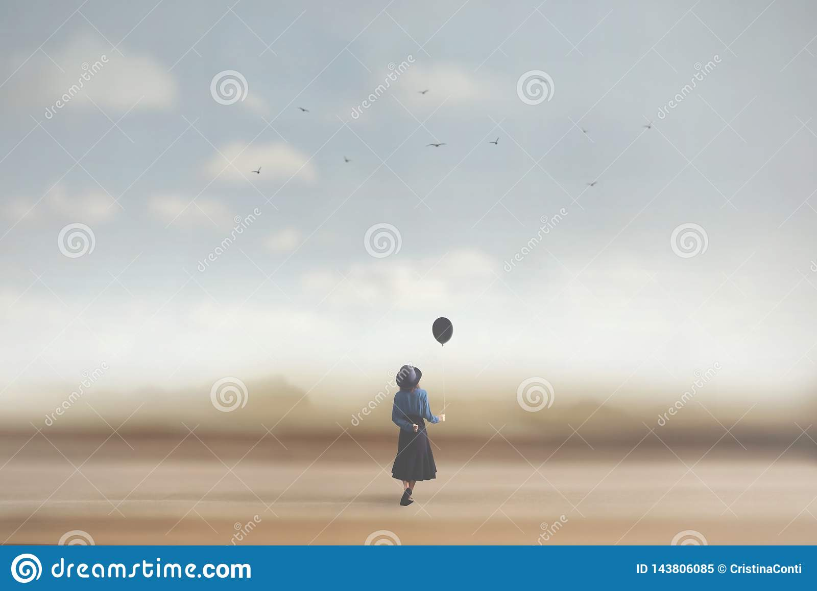 Surreal beeld van een jonge vrouw die met een ballon dromen